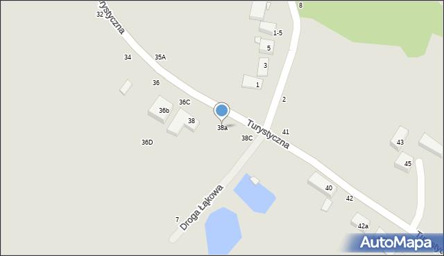 Toruń, Turystyczna, 38a, mapa Torunia