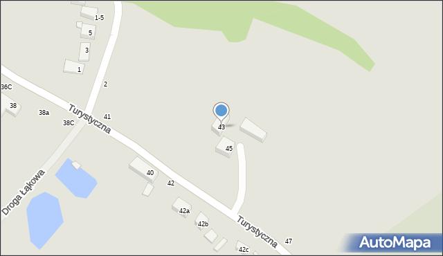 Toruń, Turystyczna, 43, mapa Torunia