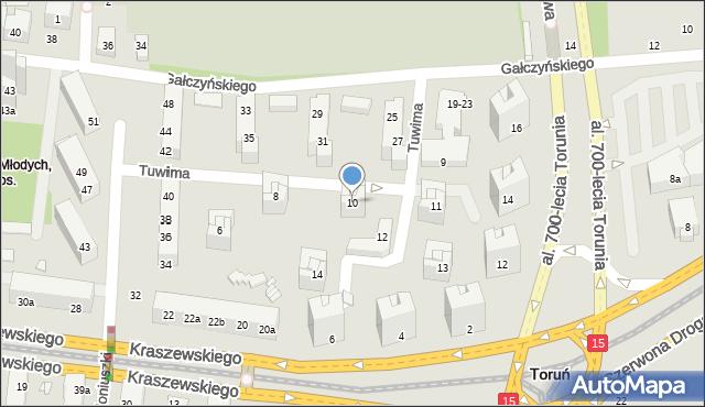 Toruń, Tuwima Juliana, 10, mapa Torunia