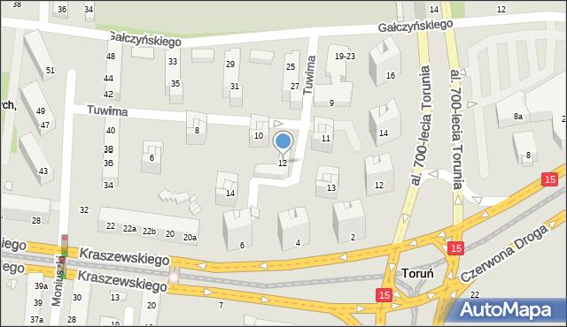 Toruń, Tuwima Juliana, 12, mapa Torunia