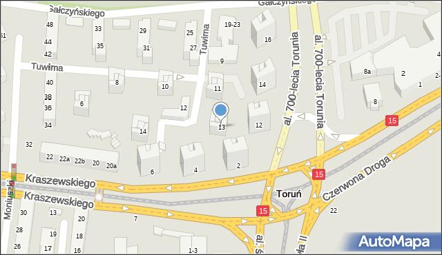 Toruń, Tuwima Juliana, 13, mapa Torunia