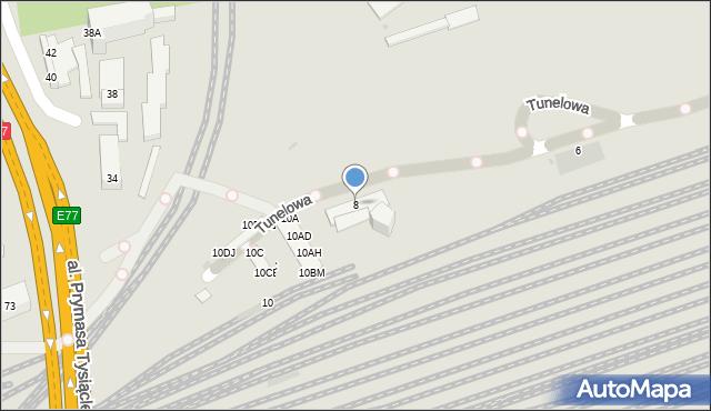 Warszawa, Tunelowa, 8, mapa Warszawy