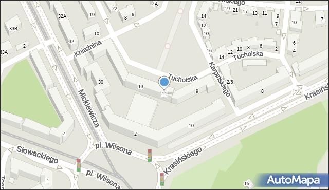 Warszawa, Tucholska, 11, mapa Warszawy