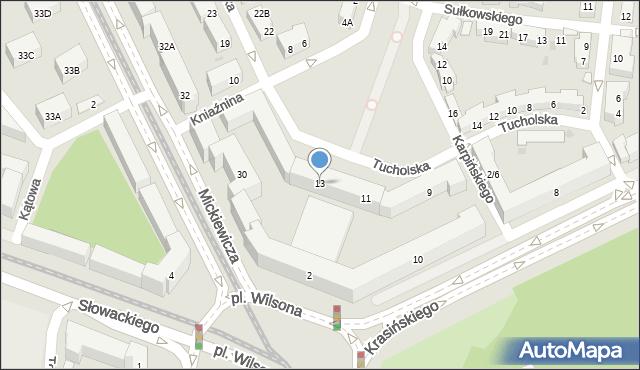 Warszawa, Tucholska, 13, mapa Warszawy