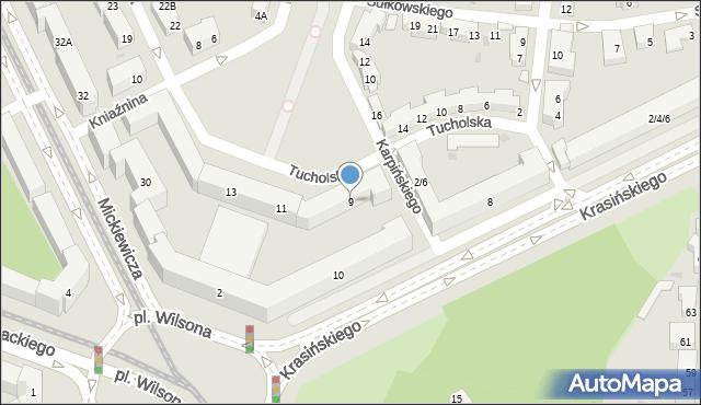 Warszawa, Tucholska, 9, mapa Warszawy