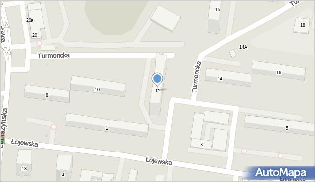 Warszawa, Turmoncka, 12, mapa Warszawy