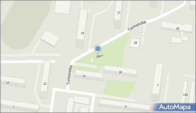 Warszawa, Turmoncka, 14A, mapa Warszawy