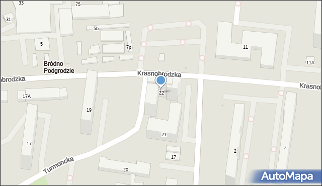 Warszawa, Turmoncka, 22, mapa Warszawy