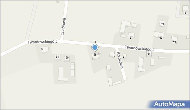 Barłomino, Twardowskiego Jana, ks., 58, mapa Barłomino