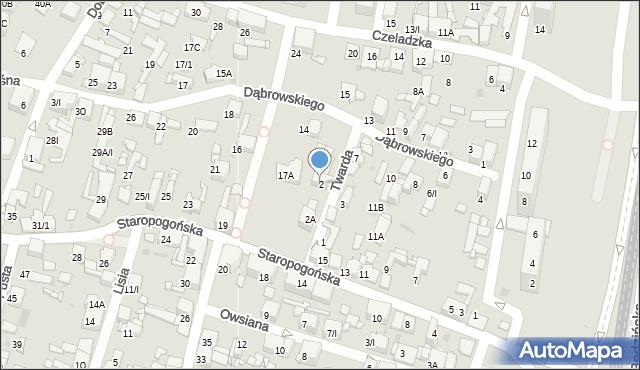 Sosnowiec, Twarda, 2, mapa Sosnowca