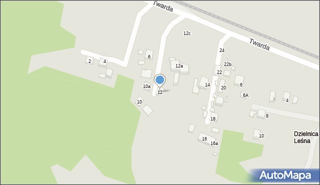 Toruń, Twarda, 12, mapa Torunia