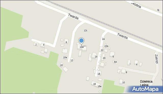 Toruń, Twarda, 12a, mapa Torunia