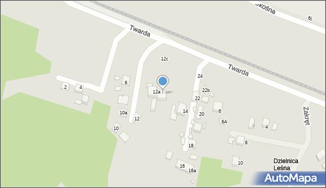 Toruń, Twarda, 12b, mapa Torunia