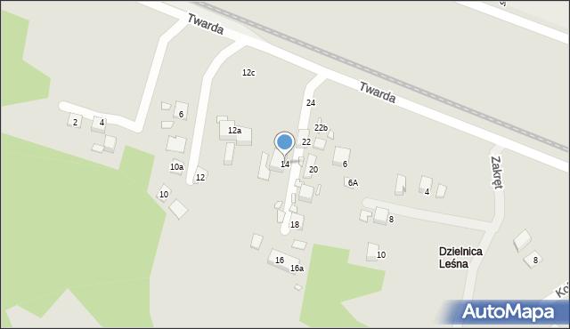 Toruń, Twarda, 14, mapa Torunia