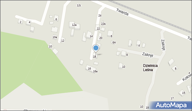 Toruń, Twarda, 18a, mapa Torunia