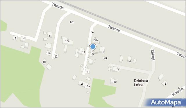 Toruń, Twarda, 20, mapa Torunia