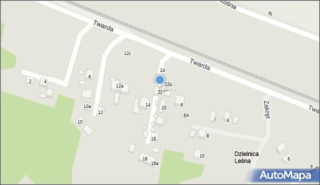 Toruń, Twarda, 22, mapa Torunia