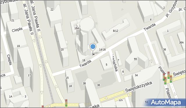 Warszawa, Twarda, 14, mapa Warszawy