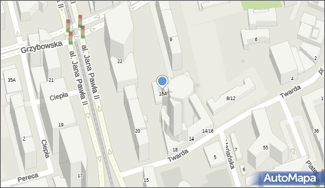 Warszawa, Twarda, 16A, mapa Warszawy
