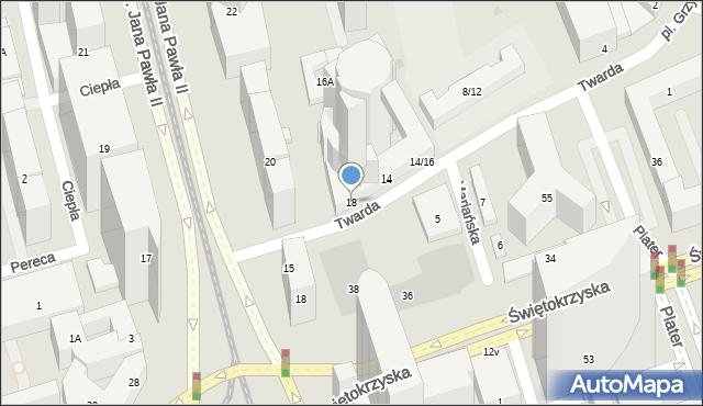 Warszawa, Twarda, 18, mapa Warszawy