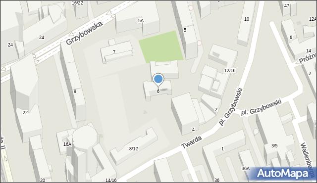 Warszawa, Twarda, 6, mapa Warszawy