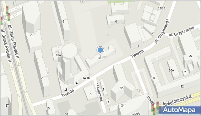 Warszawa, Twarda, 8/12, mapa Warszawy