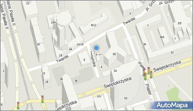 Warszawa, Twarda, 7, mapa Warszawy