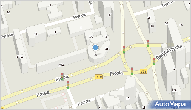 Warszawa, Twarda, 30, mapa Warszawy