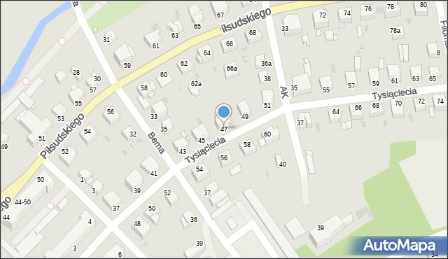 Grudziądz, Tysiąclecia, 47, mapa Grudziądza