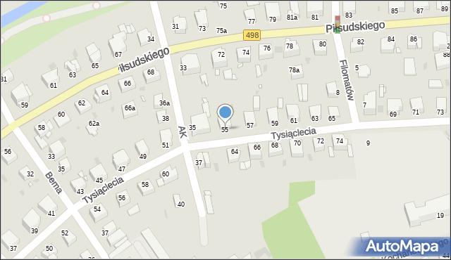 Grudziądz, Tysiąclecia, 55, mapa Grudziądza