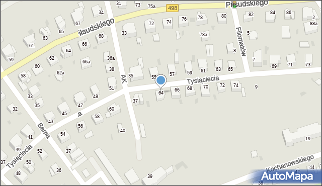 Grudziądz, Tysiąclecia, 64, mapa Grudziądza