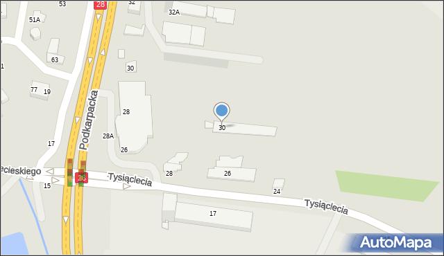 Krosno, Tysiąclecia, 30, mapa Krosna