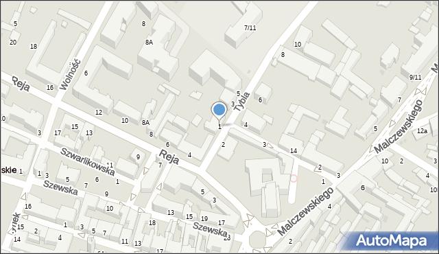 Radom, Tybla Aleksandra, 1, mapa Radomia