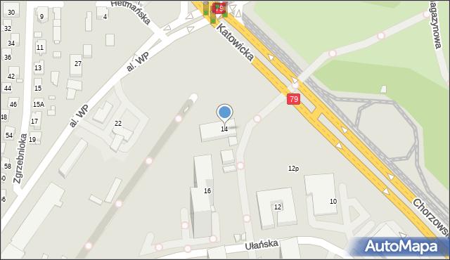 Katowice, Ułańska, 14, mapa Katowic