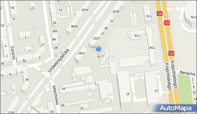 Łódź, Uniwersytecka, 21, mapa Łodzi