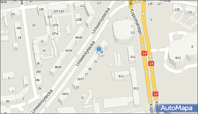 Łódź, Uniwersytecka, 33, mapa Łodzi