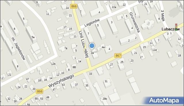 Lubaczów, Unii Lubelskiej, 2a, mapa Lubaczów