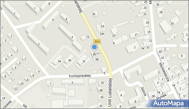 Lubaczów, Unii Lubelskiej, 61, mapa Lubaczów