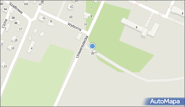 Radom, Uniwersytecka, 10, mapa Radomia