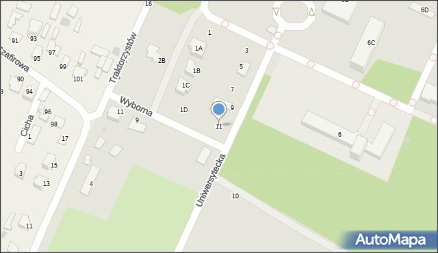 Radom, Uniwersytecka, 11, mapa Radomia