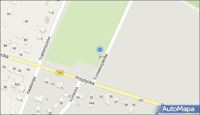 Radom, Uniwersytecka, 27, mapa Radomia