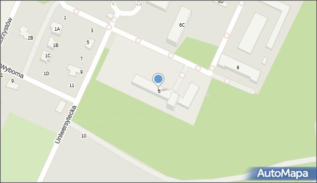 Radom, Uniwersytecka, 6, mapa Radomia