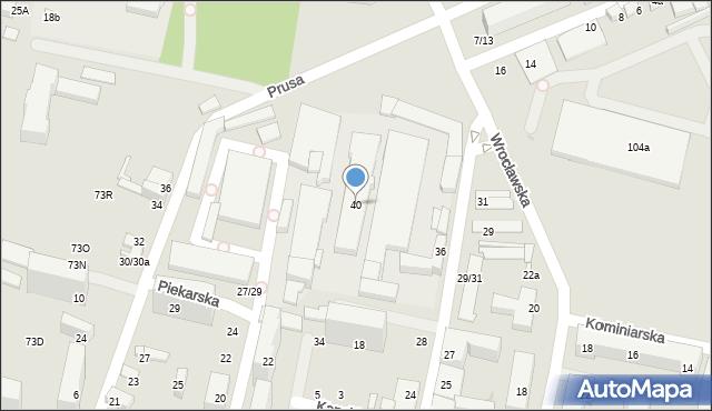 Łódź, Urzędnicza, 40, mapa Łodzi