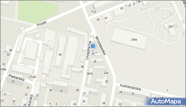 Łódź, Urzędnicza, 31, mapa Łodzi