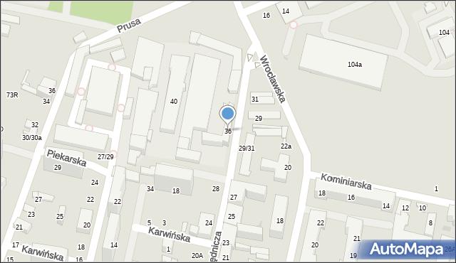 Łódź, Urzędnicza, 36, mapa Łodzi