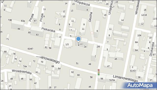 Łódź, Urzędnicza, 4, mapa Łodzi