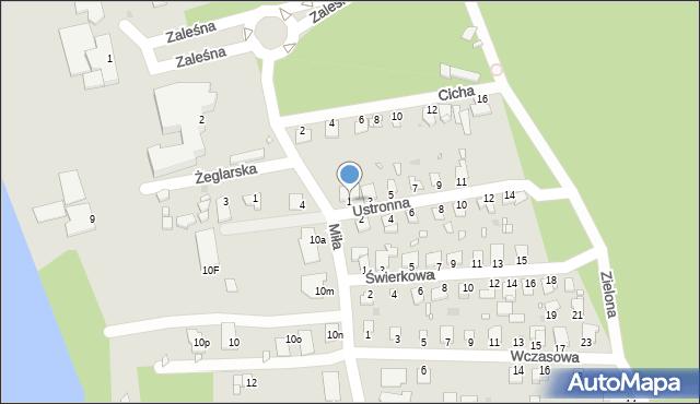Grudziądz, Ustronna, 1, mapa Grudziądza
