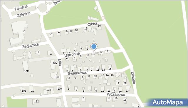 Grudziądz, Ustronna, 10, mapa Grudziądza