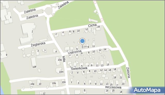 Grudziądz, Ustronna, 7, mapa Grudziądza