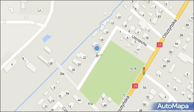 Toruń, Uśmiechu, 20, mapa Torunia